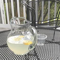 pitcher of lemonade outside
